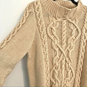 Beige Chunky Knit Cable Knit Turtleneck Sweater